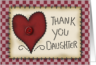 Thank You Daughter! Prim Heart Applique, Button and Stitching card