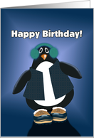 Happy Birthday! Cartoon Penguin With Earmuffs and Boots card