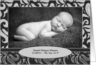 Baby Announcement, Flourishes, Photo Card
