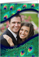 Peacock Feathers Wedding Invitation Photo Card