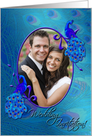 Peacock Wedding Invitation Oval Photo Card