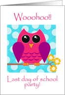 Party Invitation, Last Day of School Party, Whimsical Owl card