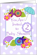 Double Baby Showers Invitation, Butterflies and Flowers card
