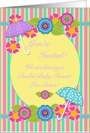 Double Baby Shower For Sisters Invitation, Flowers and Umbrellas card