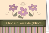 Thank You Neighbor! Pretty Pink Flowers and Stripes, Stitched Look card