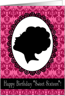 Happy Birthday Sweet Sixteen Silhouette, Cameo, Pink Damask card