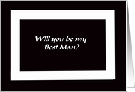 Black and White Best Man Card