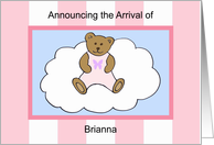 Brianna Girl Announcement card