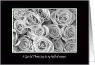 Maid of Honor Thank You Card -- Black and White Roses card