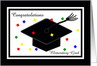 Elementary School Graduation Card -- Graduation Cap and Confetti card