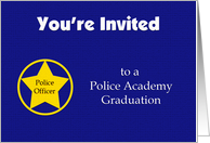 Police Academy Graduation Invitations -- Navy Blue with Badge card