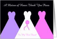 Best Friend Matron of Honor Thank You Card -- Matron of Honor Thank You Poem card