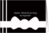 Nephew Ring Bearer Thank You Card --White Bowtie on Black card