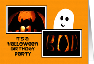 Halloween Birthday Invitation -- Pumpkins and a Ghost card