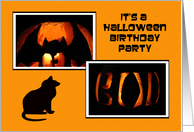 Halloween Birthday Party Invitation -- Pumpkins and a Cat card