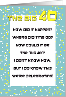 40th Birthday Party Invite -- the Big 40 Invitation Poem card