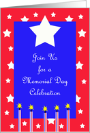 Memorial Day Party Invitation -- Stars and Fireworks card