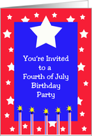 4th of July Birthday Invitation -- Stars and Fireworks card