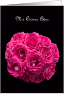Hot Pink Rose on Black Quinceanera Invitation card