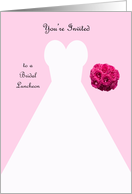 Invitation, Bridal Luncheon in Pink, White Bridal Gown card