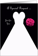 Invitation, Junior Bridesmaid Card in Black, Wedding Gown card