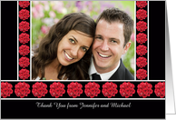 Wedding Photo Thank You Cards -- Photo With Red Roses card