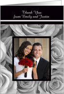Elegant Roses Wedding Photo Thank You Card