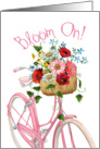Encouragement to Bloom On with Pink Bike and Flowers card