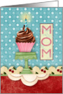 Cupcake with Candle on a Retro Background Birthday Card for Mom card