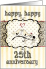 Happy 25th Anniversary, Lovebirds With Heart on Damask card