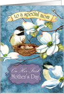 Chickadees nesting in a Dogwood Branch for a First-time Mother's Day card
