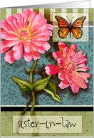 Happy Birthday, Sister-in-law...watercolor butterfly and zinnias card