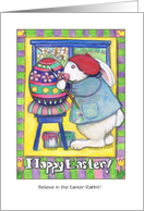 Easter Greetings for teen: Easter Bunny painting egg card