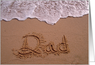 sand writting Dad sandwritten happy birthday card