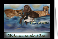 Welcome to the Clan Dogs & Cat doggy friends kitty card