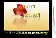 Birthday card Red Lilly irish golden shadow reflection Happy Birthday special Attorney card