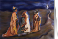 Jesus born on Christmas Day, Three Wise Men follow star card