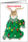 Tacky Christmas Sweater Party Invitation Bunny card