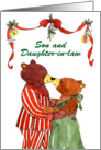 Son & Daughter-in-law, Christmas Eve Anniversary -Mistletoe Bears card