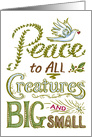Christmas Peace to ALL Creatures, Hand Lettering, Doves, Leaves, Star card