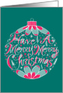 Merry Merry Christmas Ornament Hand Lettering card