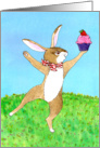 Happy Birthday - Dancing Bunny with Cupcake card