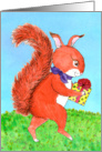 Birthday - Red Squirrel with gift card