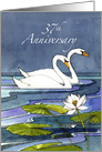 37th Wedding Anniversary Swans card