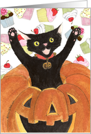 Halloween Birthday Invite Cat card