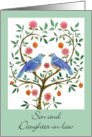 Vow Renewal Congrats, Son & Daughter-in-law, Blue Doves card