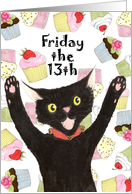 Friday the 13th Birthday Invite Cat card