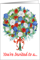 Memorial Day Party Invitation, Patriotic Bouquet card