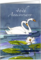 46th Wedding Anniversary Swans card