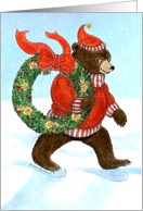 Thank You for Christmas Gift, Brown Bear's Christmas Wreath card